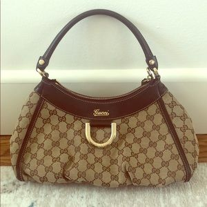 Gucci Brown GG Canvas and Leather D-Ring Hobo Bag